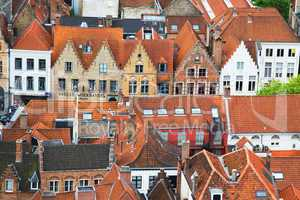 Roofs of Flemish Houses in Brugge, Belgium