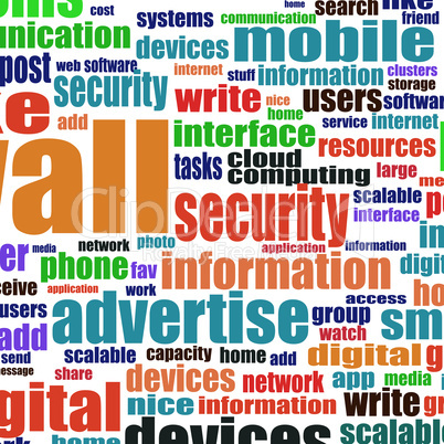 Word cloud tags concept illustration of social media theme