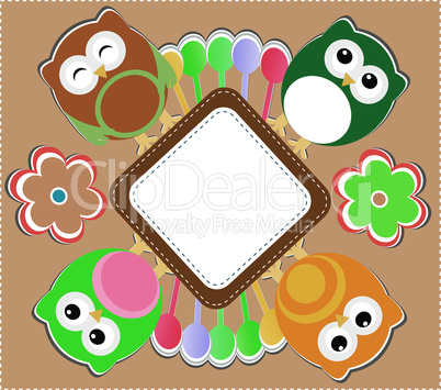 Template greeting card with owls and flowers, scrap vector illustration