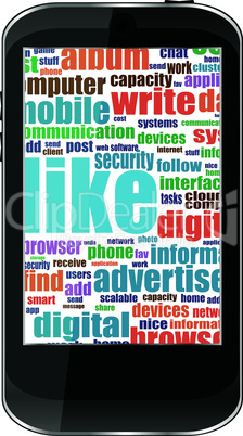 Business and financial words on tablet pc screen - vector