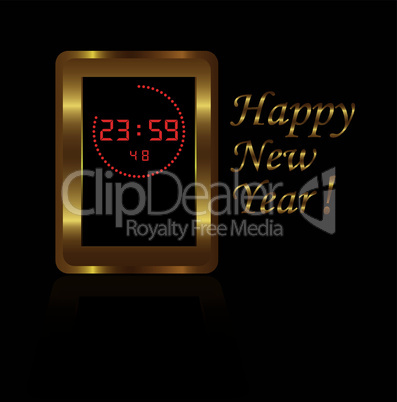 vector golden digital clock