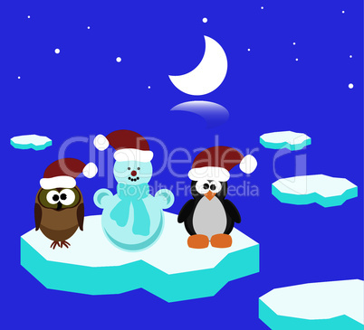 vector owl, penguin and snowman