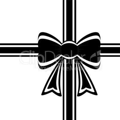 vector black ribbon with bow