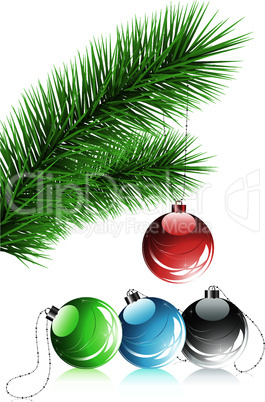 vector fir tree branch and xmas decoration