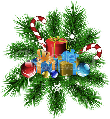 vector fir tree branch, xmas decoration and gifts