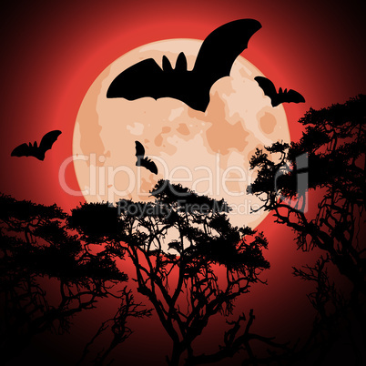 vector big red moon, trees and bats