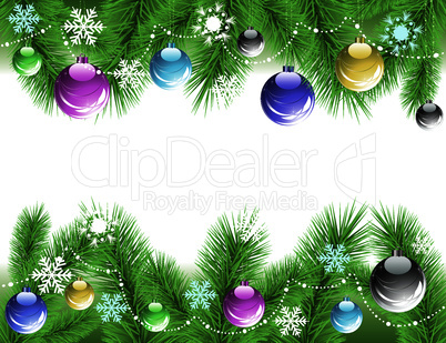 vector xmas tree branches with decoration
