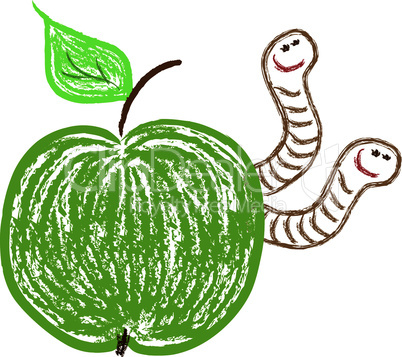 vector apple and funny worms