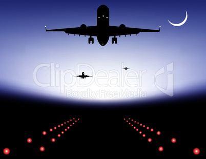 vector  plane over runway