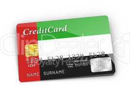 Credit Card covered with United Arab Emirates Flag.