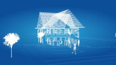 freeze over a house in wireframe