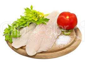 Fresh fish fillets with spices and celery