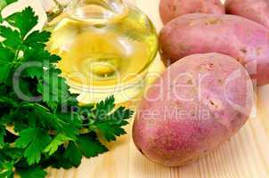 Potatoes red with parsley and oil
