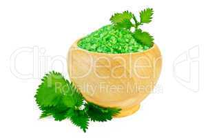 Salt in the green wood bowl with nettle