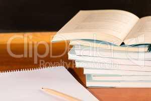 Academical study school books on wooden desk