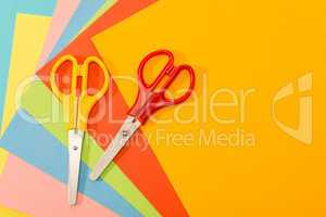 Color papers with scissors paperwork art