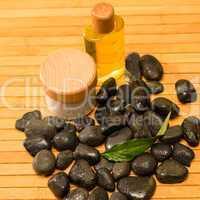 Spa zen stones with salt and oil