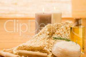 Massage treatment candles with oil scrub salt