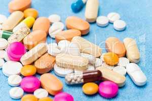 Color medicament pills spilled capsules