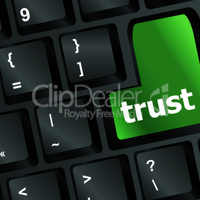 Computer keyboard with trust button, business concept