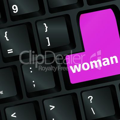 woman pink key on keyboard laptop computer