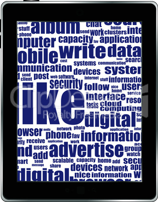 Business and financial words on tablet pc screen. Vector eps10 illustration