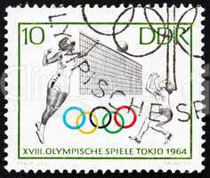 Postage stamp GDR 1964 Volleyball, Tokyo 64