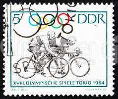 Postage stamp GDR 1964 Bicycling, Tokyo 64