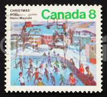 Postage stamp Canada 1974 Skaters at Hull by Henri Masson