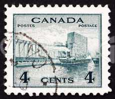 Postage stamp Canada 1942 Grain Elevators in Harbor