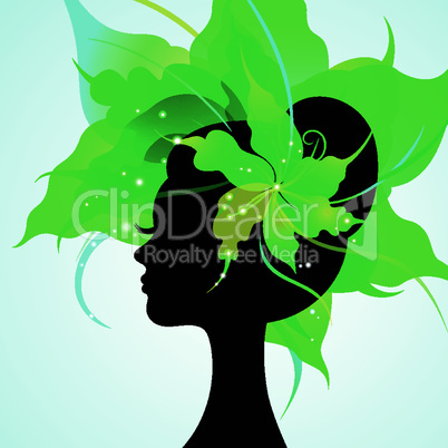 EPS10 silhouette of a beautiful young woman