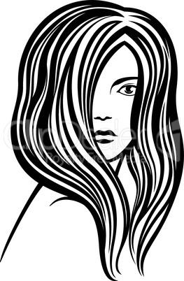 Young woman's portrait line-art illustration