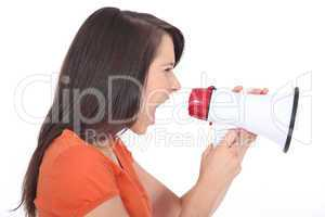 Woman screaming into a megaphone