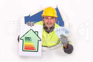 Laborer with energy rating sign and bills in hands