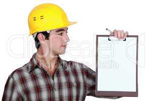 Construction man with a clipboard