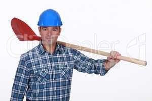 Construction worker with a shovel