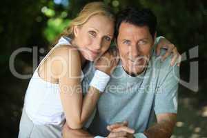 Landscape of tennis couple