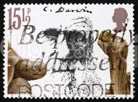 Postage stamp GB 1982 Giant tortoises and Charles Darwin