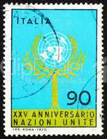 Postage stamp Italy 1970 Tree and UN Emblem