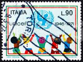Postage stamp Italy 1971 UNICEF Emblem and Children