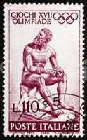 Postage stamp Italy 1960 Statue of Seated Boxer by Lyssipus of S