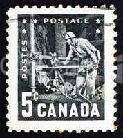 Postage stamp Canada 195 Miner with Pneumatic Drill