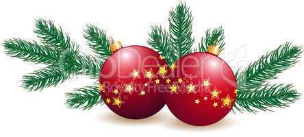 Weihnachtskugeln mit Tannenzweigen
