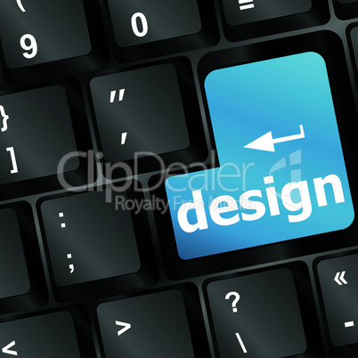 design word on blue keyboard button