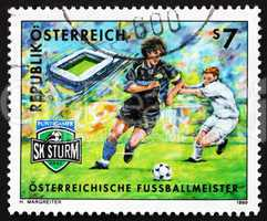 Postage stamp Austria 1999 Soccer Club SK Puntigamer Sturm Graz