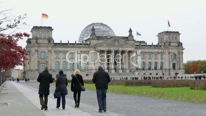 The Reichstag Building Berlin (Bundestag) in 1080p FullHD with walking tourists in front