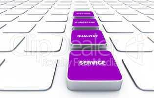 Quader Konzept Violett - Beratung Kompetenz Qualität Service 8