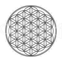 Blume des Lebens Symbol Schwarz Weiß 1