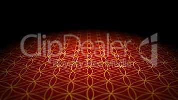 Boden mit Textur - Blume des Lebens - Rot Gold