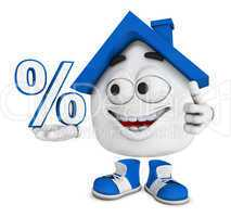 Kleines 3D Haus Blau - Prozent Symbol